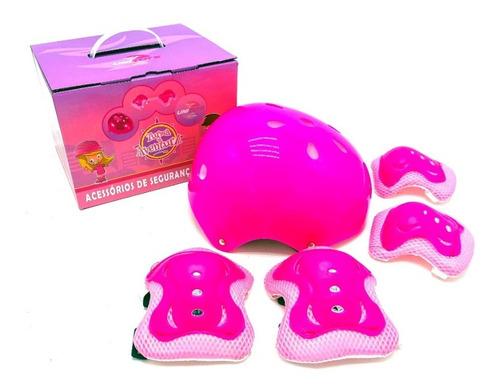 Kit Proteção Infantil Capacete Para Bike Patins Skate Rosa
