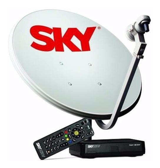 Receptor Sky Pre Pago Flex Hd+ Antena Sky De 60cm Completa