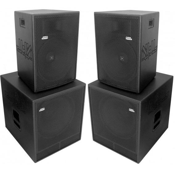 Kit Caixa 15 + Sub 18 Ativa 3200w Amplificada Sonorização