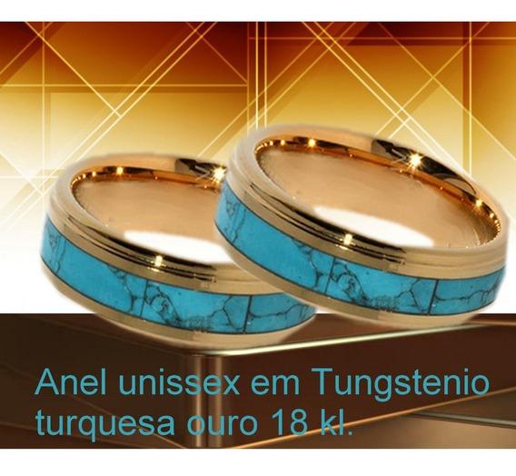 Anel Em Tungstenio Laminado Em Ouro 18 Kl E Turquesa -par