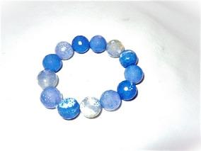 Pulsera De Piedra Natural: Ágata Facetada Color Azul 12 Mm