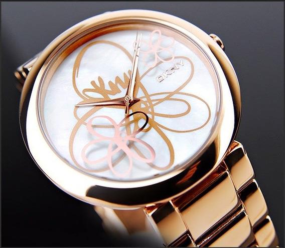 Relógio Feminino Ouro Rose Original Donna Karan Dkny Flores