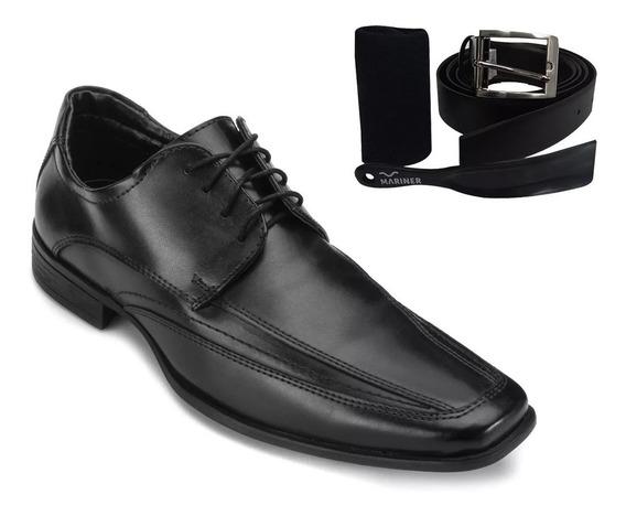 Kit 4 Em 1 Sapato Dark Mariner Cinto Meia Calçadeira 12x S
