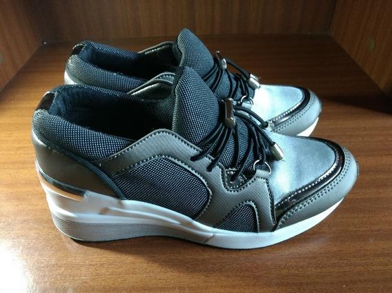 Tenis Zapato De Niña Deportivo Color Gris Talla 34