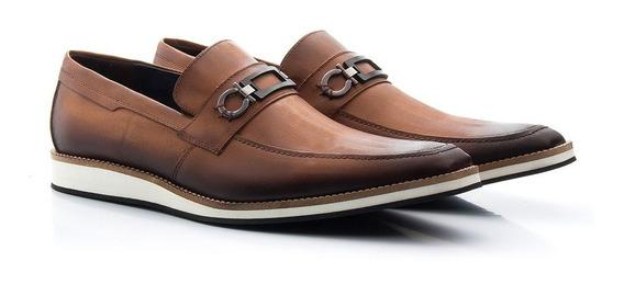 Sapato Oxford Casual Esporte Fino Anatômico Couro Estonado Estilo Inglês Solado Eva Bigioni 523/07