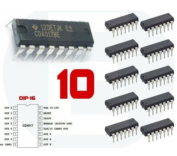 Conjunto Kit Com 10 Ci 4017 Cd4017be