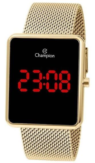 Relógio Champion Feminino Quadrado Ch40080v Em Mesh Dourado