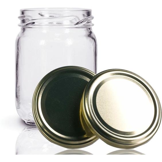 48 Potes De Vidro Conserva 200 Ml Com Tampa Dourada + Lacre