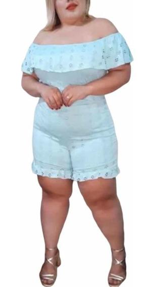 Macaquinho Ciganinha Plus Size Lese Bojo Babados