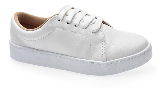 Tênis Bebecê Branco Casual Solado Flatform 2113-301 Feminino