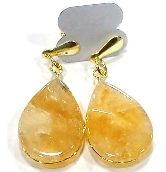 Brincos De Citrino Pedra Natural 4cm Folheado A Ouro A221