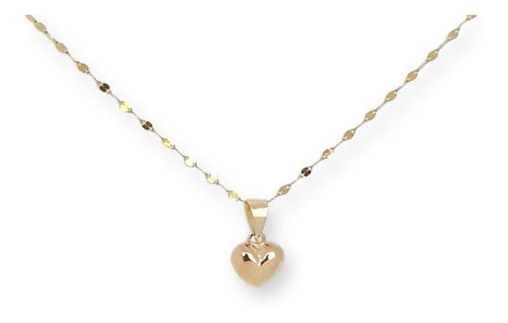 Hermosa Cadena Gargantilla Dama Corazón Oro Sólido 10k