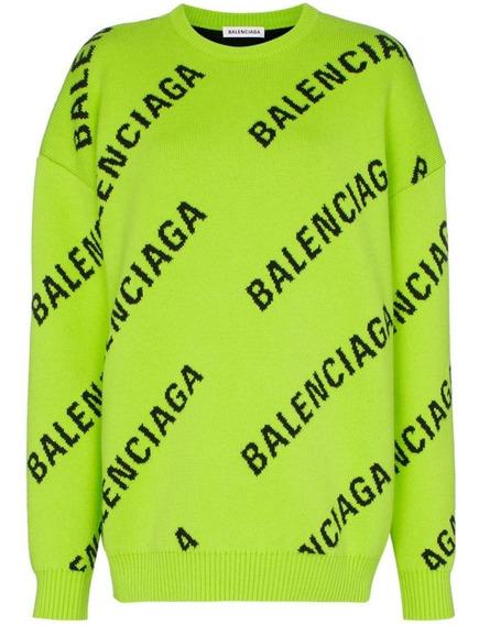 Suéter Balenciaga Oversized De Tricô Verde