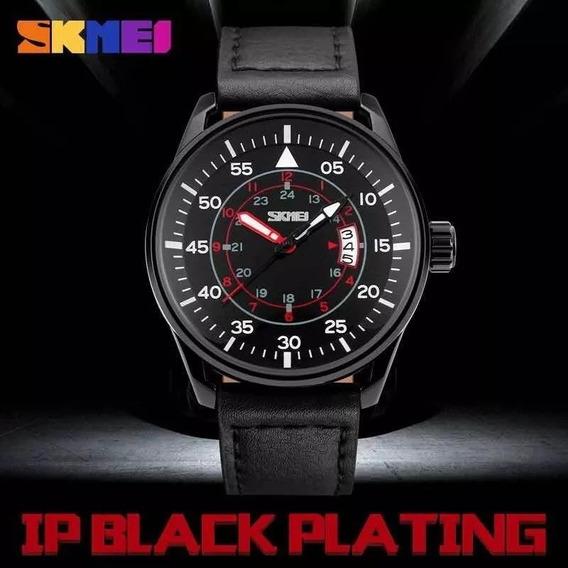 Relógio Masculino De Couro Skmei Original - A Prova D