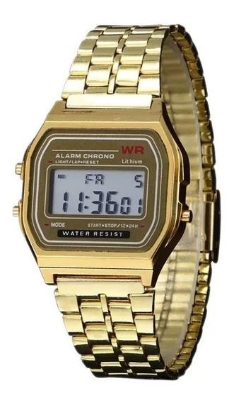 Relógio Classico Retrô Vintage Dourado Unissex