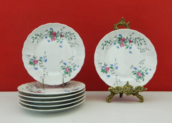 Juego 6 Platos Lunch Porcelana Limoges Bernardaud 16,5 Cm