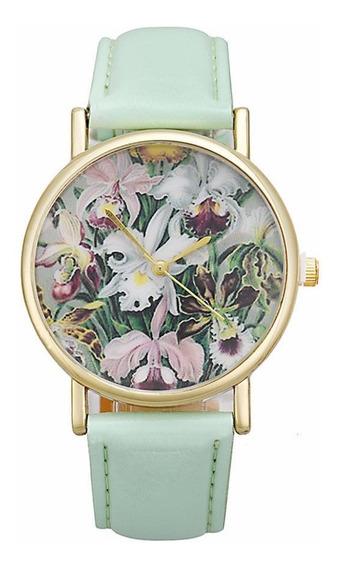 Relógio De Pulso Flores Social De Luxo Feminino R589