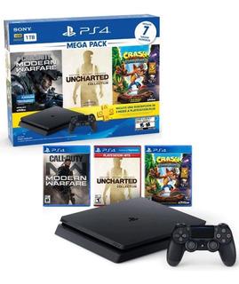 Consola Ps4 1 Tb + 3 Juegos + 3 Meses De Plus/garantía 1 Año