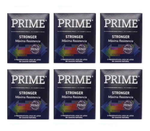 Preservativos Prime Stronger 6 Cajitas X 3 Preservativos