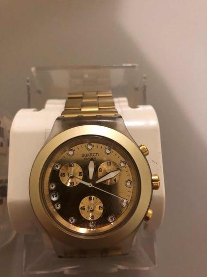 Relógio Suíço Swatch Full-blooded Dourado Original