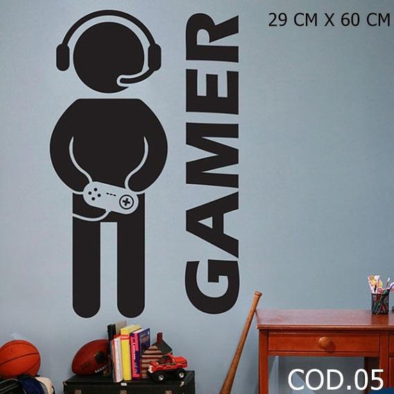 Adesivo De Parede Video Game Controle E Boneco Jogando Ps3