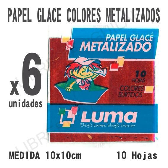 6 Paquetes De Papel Glace Colores Metalizados