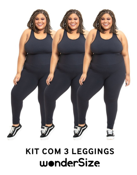 Kit 3 Legging Plus Size Wonder Size Lisa Emana® Plus Preta