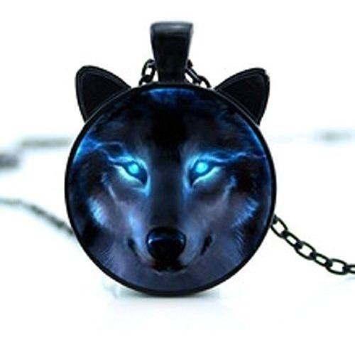 Colar Com Pingente Lobo Orelhinha Black Wolf