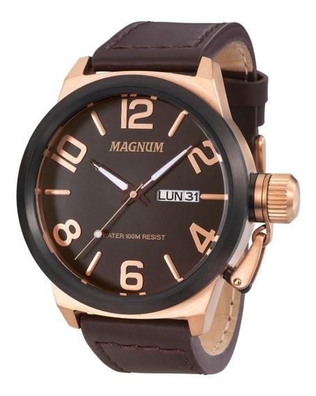 Relógio Magnum Masculino Ma33399z Calendario Pulseira Couro