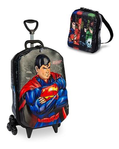 Imagem 1 de 1 de Mochila + Lancheira 3d Max Toy Liga Justiça Superman