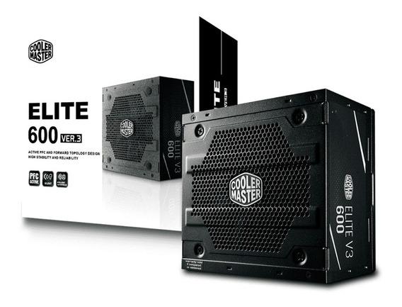 Fonte 600w Cooler Master Elite V3 Pfc Ativo S/cabo Bivolt