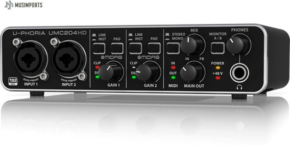 Interface De Áudio Behringer U-phoria Umc 204hd Umc204hd Usb