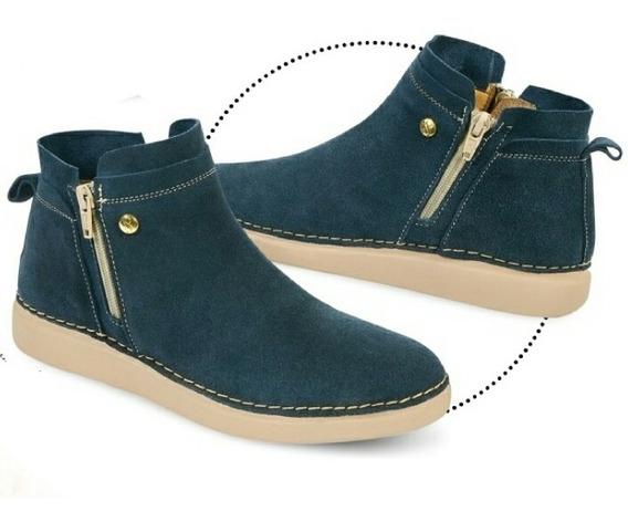 Zapato Tipo Botín Dama Azul En Piel
