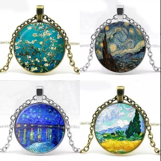 Colar Van Gogh Pingente Arte Pinturas Noite Estrelada Rodamo