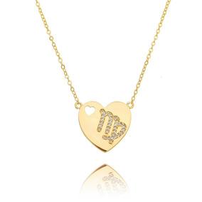 Colar Signo Virgem De Zircônia Cristal Semijoia Fashion Ouro