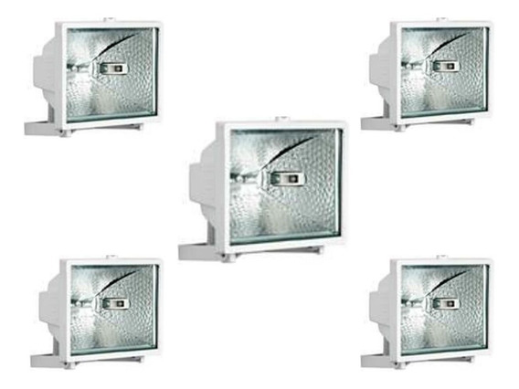 Refletor Brasfort 150w Branco Bivolt Lampada 150w 5 Pçs