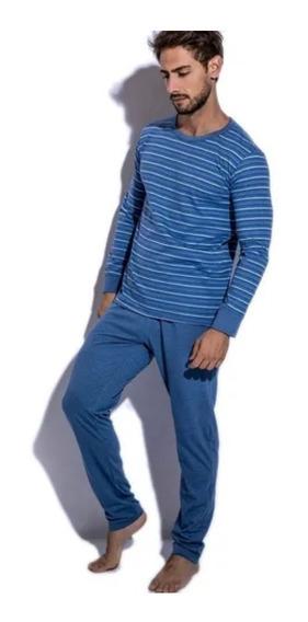 Pijama Eyelit Manga Larga Casaca Rayada Y Pantalón Liso