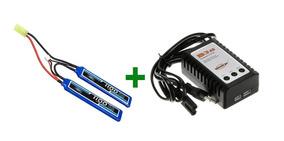 Bateria Airsoft Lipo 7.4 1100mah + Carregador Balanceador B3