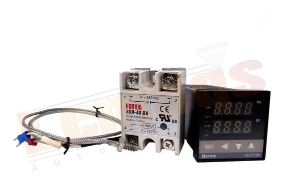 Controlador Temperatura + Sensor + Relé Estado Solido 40a