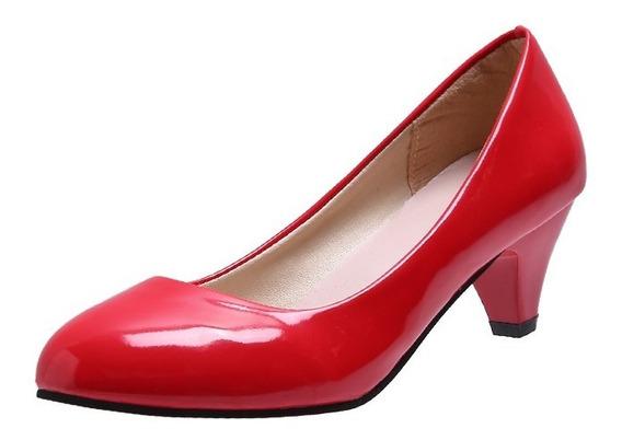 Senhora Sapatos De Salto Alto Sapatos De Dedo Do Pé Redondo