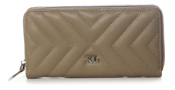Billetera C/ Cierre Mujer Xl Extra Large Nottinghan Taupe