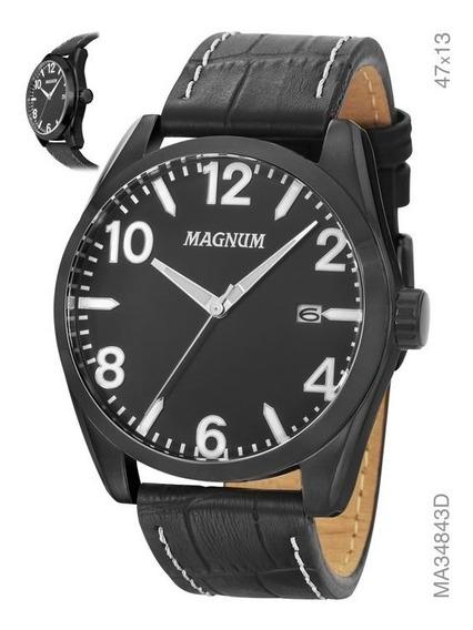 Relógio Masculino Magnum Ma34843d Em Couro Preto