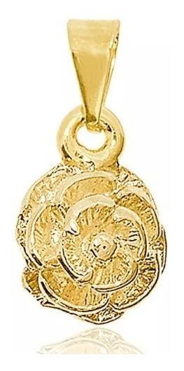 Pingente Botão De Rosa Semijoia Folheado Ouro 18k