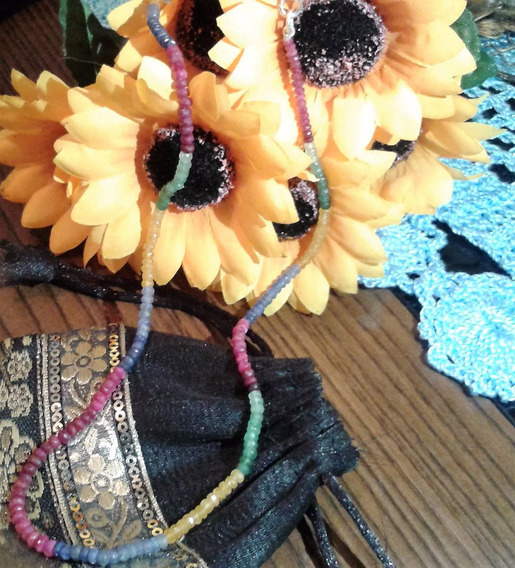 Colar Multicolorido Pedras Safiras Esmeraldas E Rubis