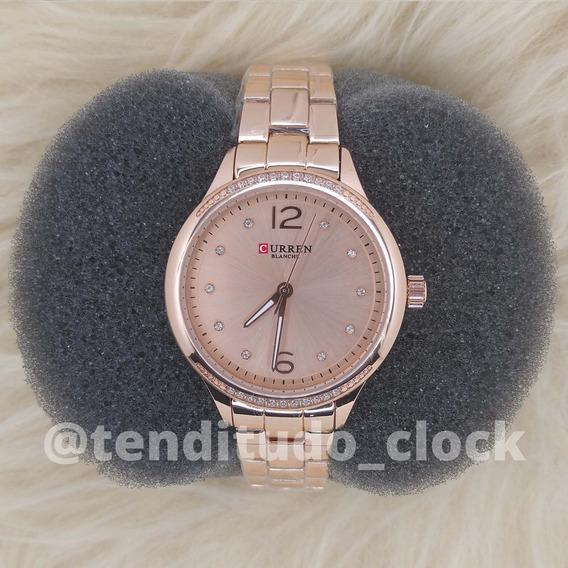 Relógio Curren 9003 Rosê De Aço Inoxidável - Frete Grátis