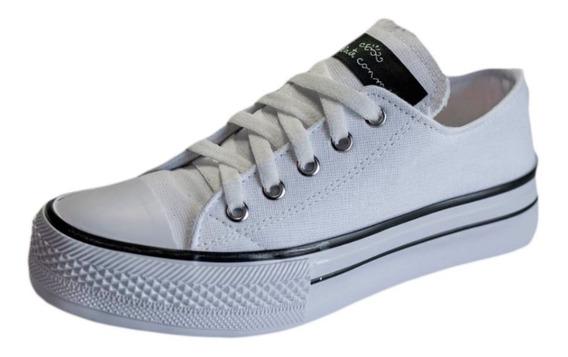 Zapatilla Moda Plataforma Lona Urbana Color Blanco