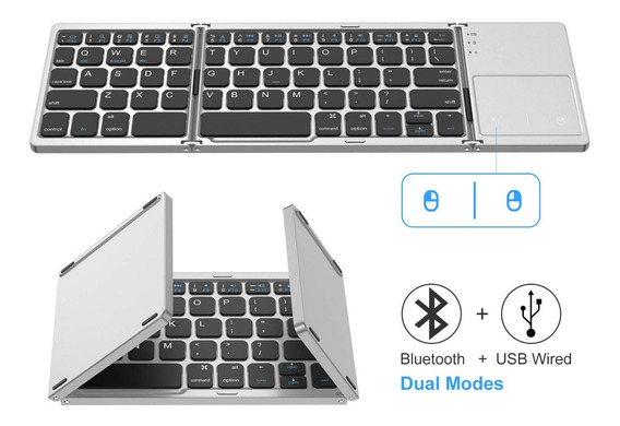 Teclado Bluetooth Dobrável Mini Touchpad Mouse Para Android