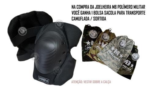 Imagem 1 de 5 de Joelheira Militar Tática E Airsoft Polímero Original + Bolsa
