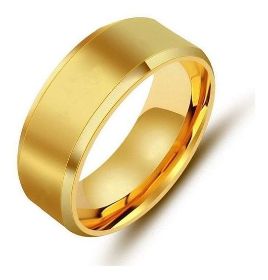 Anel Masculino Aço Dourado 6mm Estiloso Top - Melhor Preço