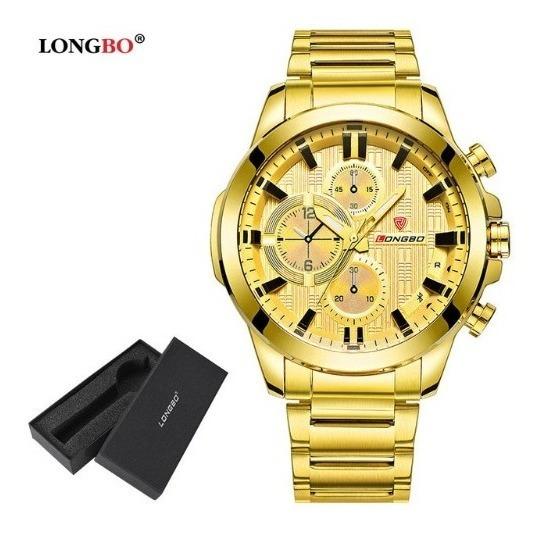 Relógio Longbo Masculino Aço Inox Caixa Ouro Dourado
